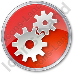 Gears Circle Red Icon