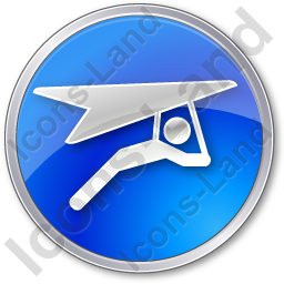 Hang Gliding Circle Blue Icon