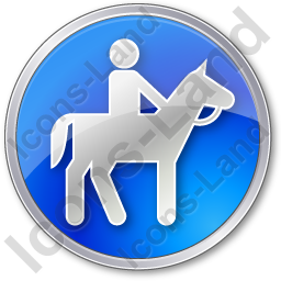 Horse Riding Circle Blue Icon