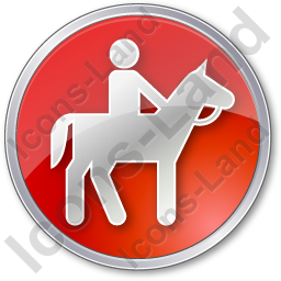 Horse Riding Circle Red Icon