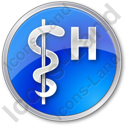 Hospital Rod Of Asclepius Circle Blue Icon