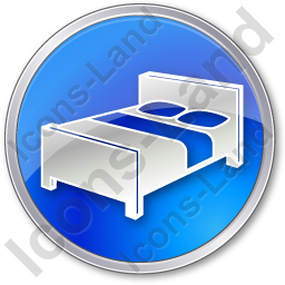 Hotel Bed 3D Circle Blue Icon