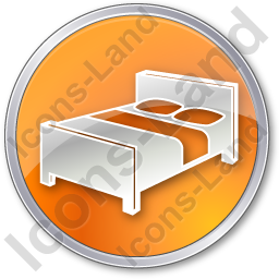 Hotel Bed 3D Circle Orange Icon