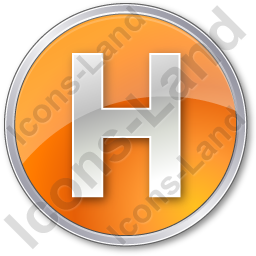 Hotel H Circle Orange Icon, PNG/ICO, 256x256