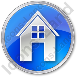 House Circle Blue Icon, PNG/ICO, 256x256