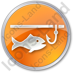 Ice Fishing Circle Orange Icon, PNG/ICO, 256x256