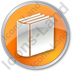 Library Book 3D Circle Orange Icon