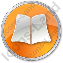 Library Book Circle Orange Icon, PNG/ICO, 256x256