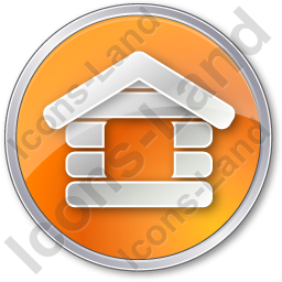 Log Cabin Circle Orange Icon, PNG/ICO, 256x256
