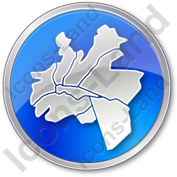 Map District Circle Blue Icon