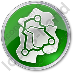 Map Roads Circle Green Icon