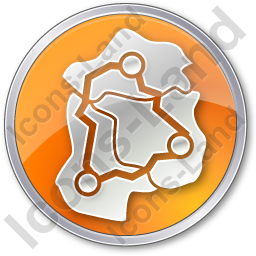 Map Roads Circle Orange Icon