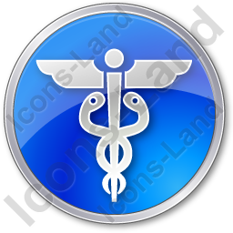 Medicine Caduceus Circle Blue Icon, PNG/ICO, 256x256