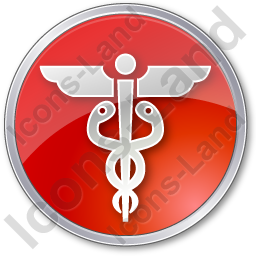 Medicine Caduceus Circle Red Icon, PNG/ICO, 256x256