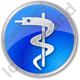 Medicine Rod Of Asclepius Circle Blue Icon