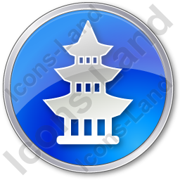 Pagoda Circle Blue Icon, PNG/ICO, 256x256