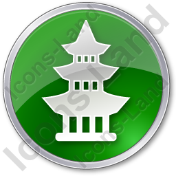 Pagoda Circle Green Icon, PNG/ICO, 256x256