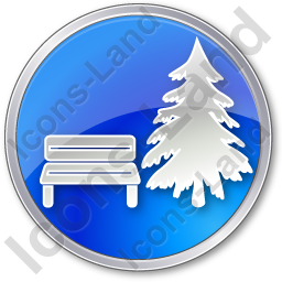 Park Coniferous Tree Circle Blue Icon