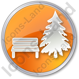 Park Coniferous Tree Circle Orange Icon