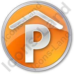 Parking P Covered Circle Orange Icon
