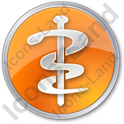 Physician Rod Of Asclepius Circle Orange Icon