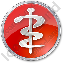 Physician Rod Of Asclepius Circle Red Icon, PNG/ICO, 256x256