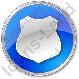 Police Badge Circle Blue Icon