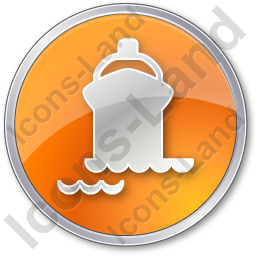 Port Ship Circle Orange Icon, PNG/ICO, 256x256