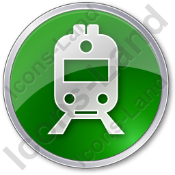 Railway Station Circle Green Icon, PNG/ICO, 256x256