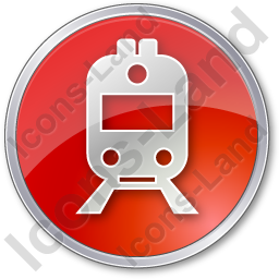 Railway Station Circle Red Icon, PNG/ICO, 256x256