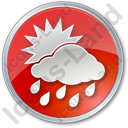 Rain Occasional Circle Red Icon, PNG/ICO, 256x256