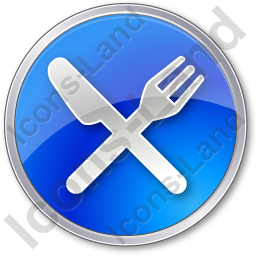 Restaurant Fork Knife Crossed Circle Blue Icon