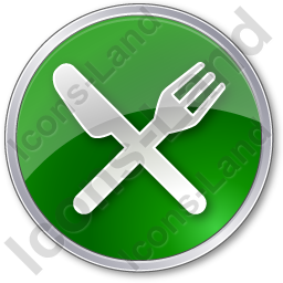Restaurant Fork Knife Crossed Circle Green Icon