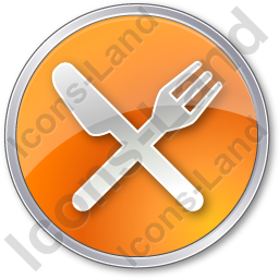 Restaurant Fork Knife Crossed Circle Orange Icon, PNG/ICO, 256x256