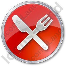 Restaurant Fork Knife Crossed Circle Red Icon, PNG/ICO, 256x256