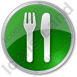 Restaurant Fork Knife Parallel Circle Green Icon, PNG/ICO, 256x256