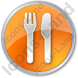 Restaurant Fork Knife Parallel Circle Orange Icon, PNG/ICO, 256x256