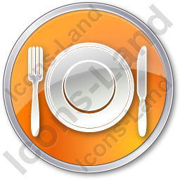 Restaurant Tableware Circle Orange Icon