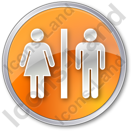 Restroom Women Man Circle Orange Icon