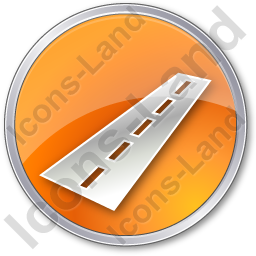Road Circle Orange Icon