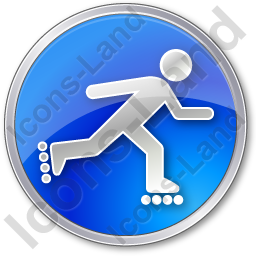 Roller Skating Circle Blue Icon, PNG/ICO, 256x256