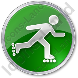 Roller Skating Circle Green Icon, PNG/ICO, 256x256