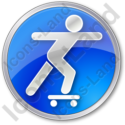 Skateboarding Circle Blue Icon, PNG/ICO, 256x256