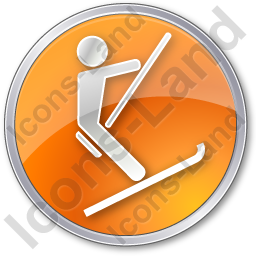 Ski Lift Surface Lift Circle Orange Icon, PNG/ICO, 256x256