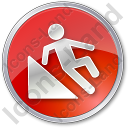 Slippery Ramp Circle Red Icon
