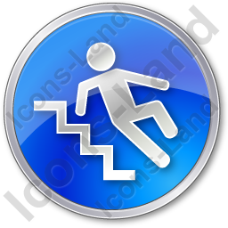 Slippery Steps Circle Blue Icon