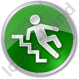 Slippery Steps Circle Green Icon