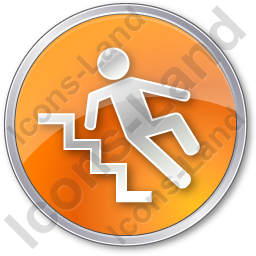 Slippery Steps Circle Orange Icon