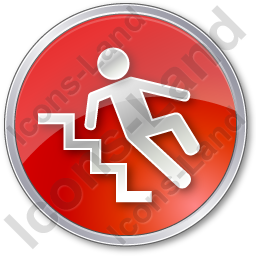 Slippery Steps Circle Red Icon