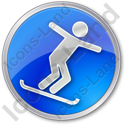 Snowboarding Circle Blue Icon, PNG/ICO, 256x256